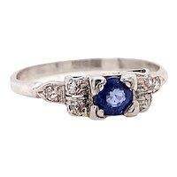 Art Deco .25ct. Sapphire & Diamond Antique Engagement - Fashion Ring Platinum - J39297