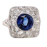 Art Deco 2.50ct. Sapphire & Diamond Antique Engagement - Fashion Ring Platinum - J39304