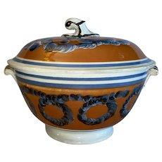 Staffordshire Mochaware Mocha Covered Tureen Ca. 1820
