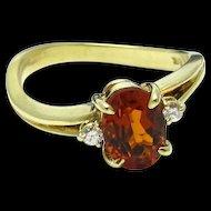 14 Karat Yellow Gold Mandarin Citrine Quartz Ring - Size 6