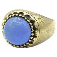 18 Karat Yellow Gold Cabochon Sapphire Ring