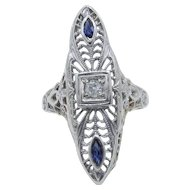 Art Deco 14 Karat White Gold Diamond and Blue Sapphire Ring