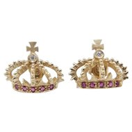 14 karat Yellow Gold Diamond Natural Rubies Crown Earrings