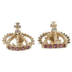 14 karat Yellow Gold Diamond Natural Rubies Crown Earrings