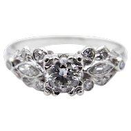 Art Deco Platinum Diamond Wedding Ring