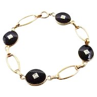 Antique Black Onyx and Diamonds 10k Yellow Gold Link Bracelet
