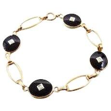 Antique Black Onyx and Diamonds 10k Yellow Gold Link Bracelet