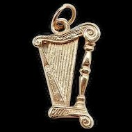 14k Yellow Gold Musical Harp Charm Pendant - 3D