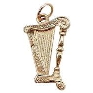 14k Yellow Gold Musical Harp Charm Pendant - 3D
