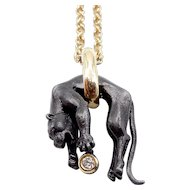 Carrera y Carrera 18K Yellow Gold and Diamond Black Anodize Panther Pendant Necklace