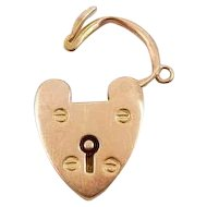 Victorian 15K Yellow Gold Heart Padlock With Keyhole Pendant Charm - Rare