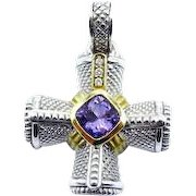 Judith Ripka Diamond Amethyst Cross Pendant Enhancer in 18K Yellow Gold and Sterling Silver