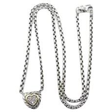 David Yurman Pave Diamond Heart Cookie Necklace with Pouch in 18k Yellow Gold & Sterling Silver
