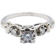 14 Karat and 18 Karat White Gold Diamond Ring