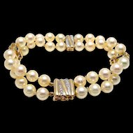 Double Strand Cultured Pearl Bracelet with 14k Yellow Gold and Diamonds