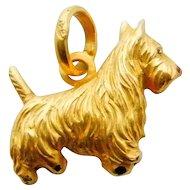 Terrier Scottie Dog Charm Pendant in 18K Yellow Gold