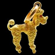 French Poodle Dog Charm Pendant in 18K Yellow Gold