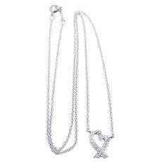 Tiffany & Co Paloma Picasso Platinum Diamond Heart Necklace - Loving Heart Pendant