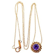 Tiffany & Co. 18 Karat Yellow Gold Twisted Rope Amethyst Necklace