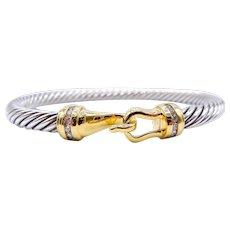 David Yurman Cable Classic Buckle Diamond Bangle Bracelet - 18k Yellow Gold - Sterling Silver - Diamonds