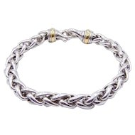 "David Yurman Large Wheat Chain Bracelet with 18K Yellow Gold - 9"" Long - 7 mm - Gentleman's Bracelet"