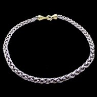 """David Yurman Wheat Chain Necklace in Sterling Silver and 14K Yellow Gold - 16"""" Long - 6 mm Wide"""