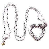 David Yurman Open Cable Heart Pendant Necklace - Sterling Silver and 18K Yellow Gold