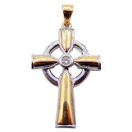 14Karat Yellow and White Gold Irish Diamond Cross