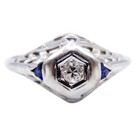 Art Deco Diamond Sapphire Filigree Ring in 14 Karat White Gold