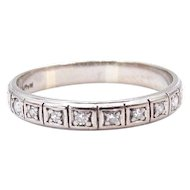 Art Deco Diamond Band in 14Karat White Gold