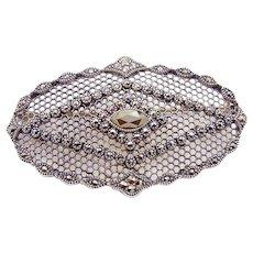Vintage Sterling Silver Marcasite Brooch