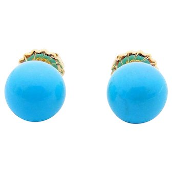 14K Yellow Gold Turquoise Large Ball Earrings