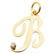 Letter B Pendant in 14 Karat Yellow Gold and Diamond