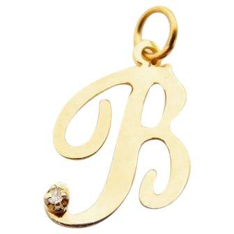 Letter B Pendant in 14 Karat Yellow Gold and Diamond