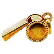 14 Karat Yellow Gold Whistle Pendant