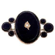 Victorian Onyx and Seed Pearl Gold Filled Brooch