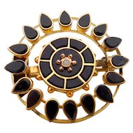 Victorian Round Onyx and Seed Pearl Brooch