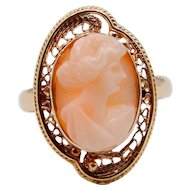 Allsopp Brothers Cameo Ring in 10K Yellow Gold Angel Skin Coral
