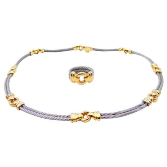 Philippe Charriol Necklace and Ring Set Handmade Stainless Steel 18K Yellow Gold