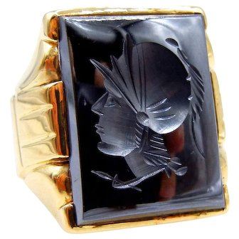 10K Yellow Gold Carved Hematite Heavy Intaglio Ring - Size 9