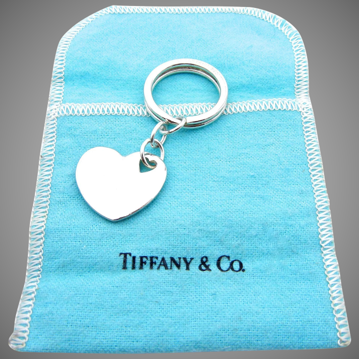 537a749b379 Authentic Tiffany & Co Sterling Silver Heart Key Chain With Blue Pouch :  Watch and Wares | Ruby Lane