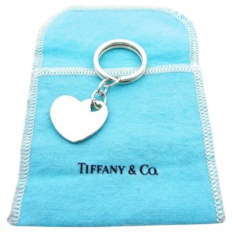 Authentic Tiffany & Co Sterling Silver Heart Key Chain With Blue Pouch