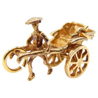 14Karat Yellow Gold Rickshaw Pendant Charm Moveable
