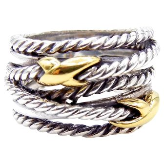 David Yurman Crossover Ring in 18K Yellow Gold and Sterling Silver