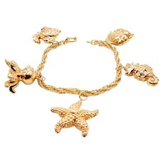 Reserved Nautical Gold Bracelet in 14K Yellow Gold - Starfish Seahorse Octopus Fish Charm Bracelet