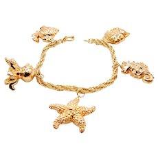 Nautical Gold Bracelet in 14K Yellow Gold - Starfish Seahorse Octopus Fish Charm Bracelet
