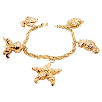 Nautical Gold Bracelet in 14K Yellow Gold - Starfish Seahorse Octopus Fish Charm Bracelet