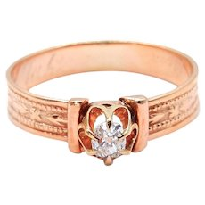 Victorian 14 Karat Yellow Gold Diamond Engagement Ring - Mine Cut Diamond