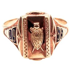 10 Karat Yellow Gold Josten 1955 High School Class Ring