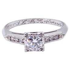 Platinum Round Diamond Engagement Ring - Size 6.5
